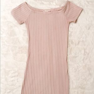 Beige Ribbe Dress